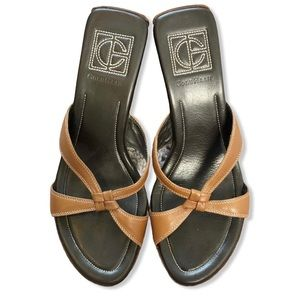 Cole Haan Tan Wedge Strappy Leather Sandals 7.5